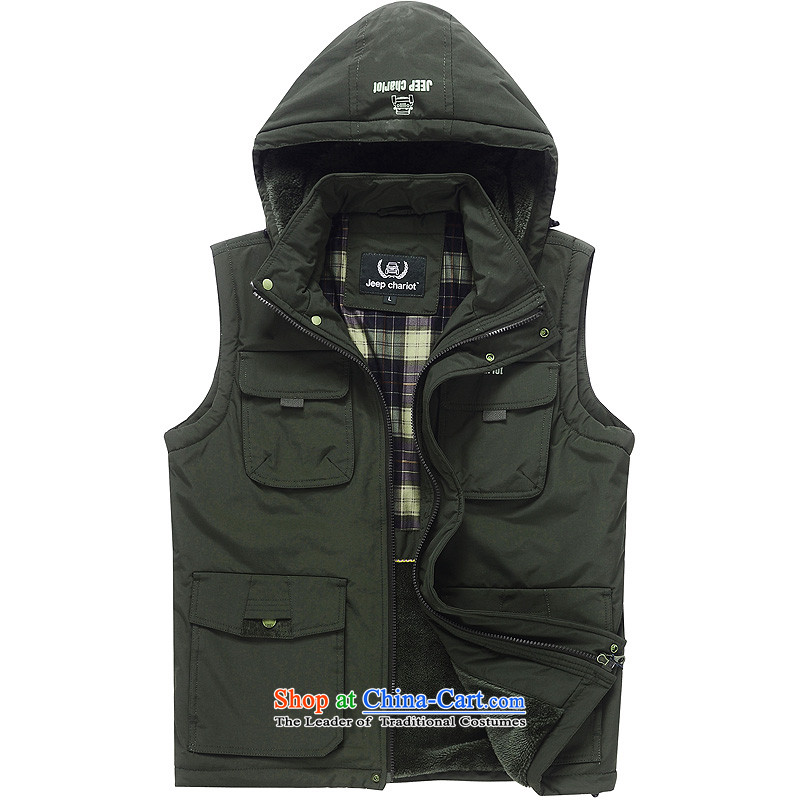 Jeep chariot Tang Dynasty Male Cap waistcoat pocket pure colors plus more lint-free zip for cap xl new sleeveless jacket 8532 Ma Folder Army Green燤