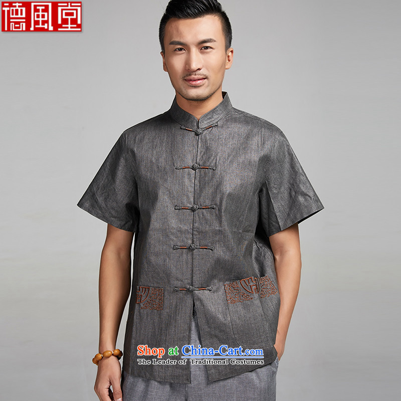 Fudo Sui-taek de?2015 linen embroidery Tang dynasty male summer short-sleeved shirt China wind men Chinese clothing dark gray?XXL