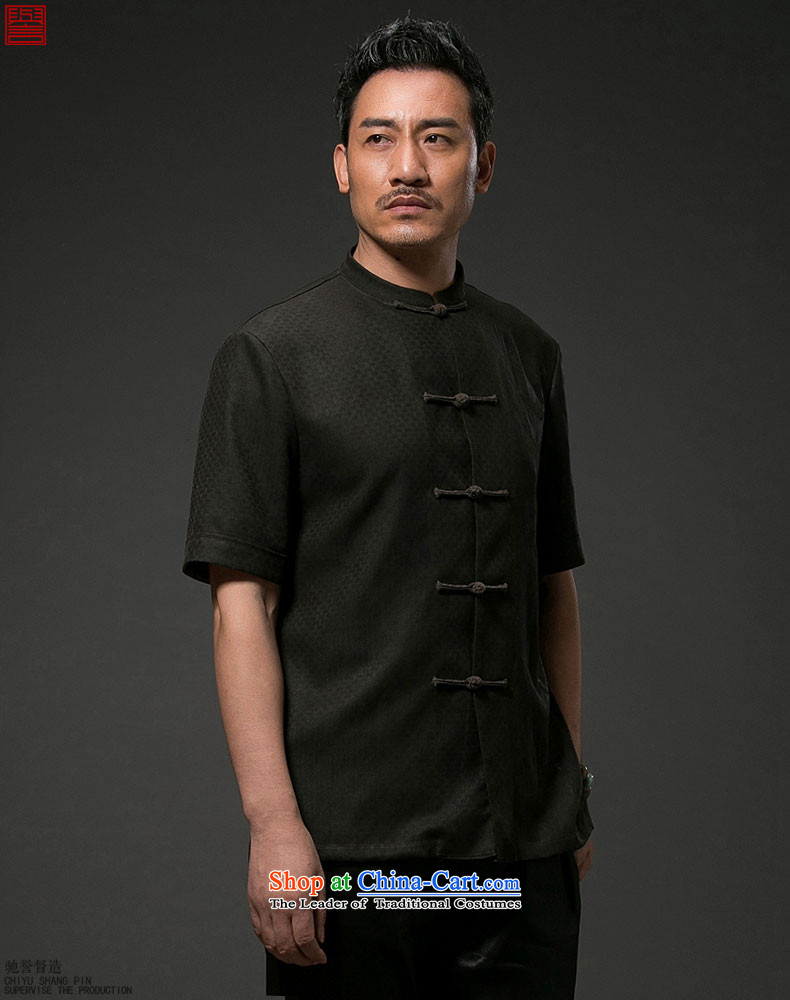 Renowned China wind men Summer Scent of silk yarn in the cloud of older men Tang dynasty Short-sleeve men casual Tang-black national聽2XL Photo, prices, brand platters! The elections are supplied in the national character of distribution, so action, buy now enjoy more preferential! As soon as possible.