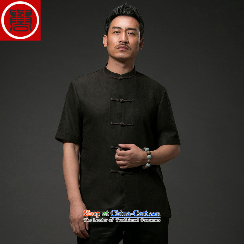 Renowned China wind men Summer Scent of silk yarn in the cloud of older men Tang Dynasty Short-Sleeve Men National Black 2XL leisure Tang