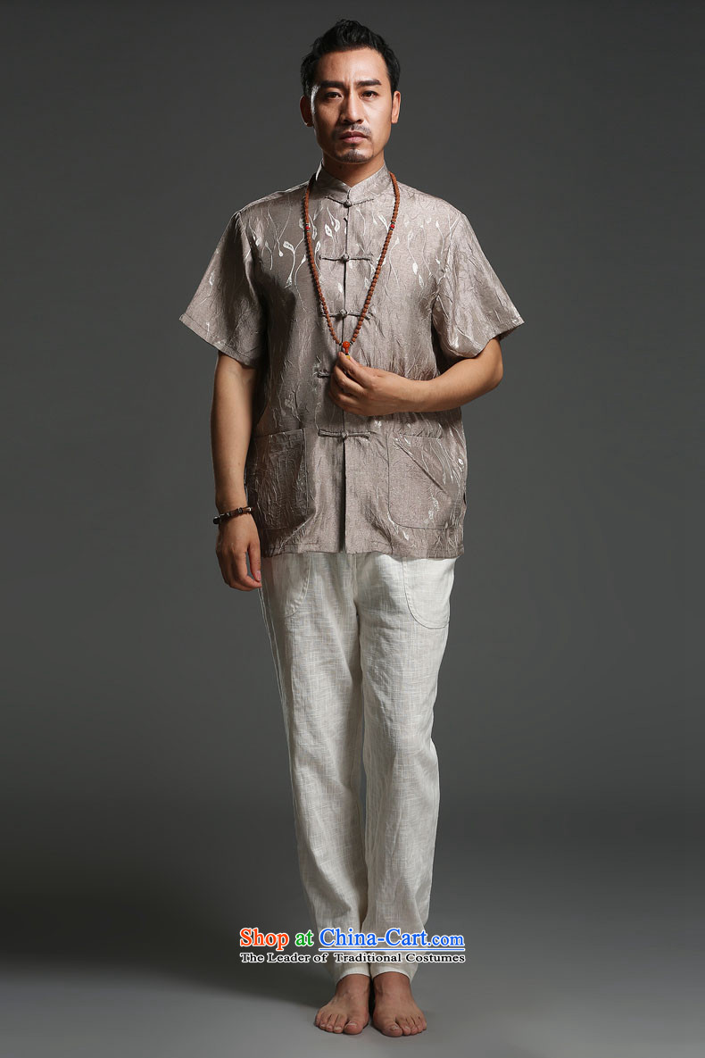 Renowned men 2014 Summer new middle-aged man Tang dynasty short-sleeved cotton linen Tang dynasty loose breathable short-sleeved T-shirt (175)large pictures, carbon price, brand platters! The elections are supplied in the national character of distribution, so action, buy now enjoy more preferential! As soon as possible.