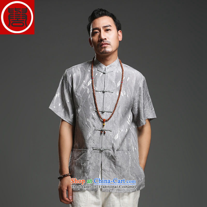Renowned men 2014 Summer new middle-aged man Tang dynasty short-sleeved cotton linen Tang dynasty loose breathable short-sleeved T-shirt (175)large carbon