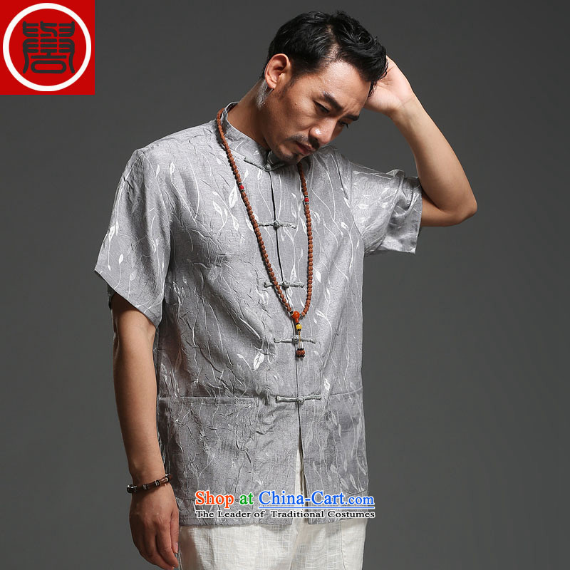Renowned men 2014 Summer new middle-aged man Tang dynasty short-sleeved cotton linen Tang dynasty loose breathable short-sleeved T-shirt (175), renowned large carbon (CHIYU) , , , shopping on the Internet