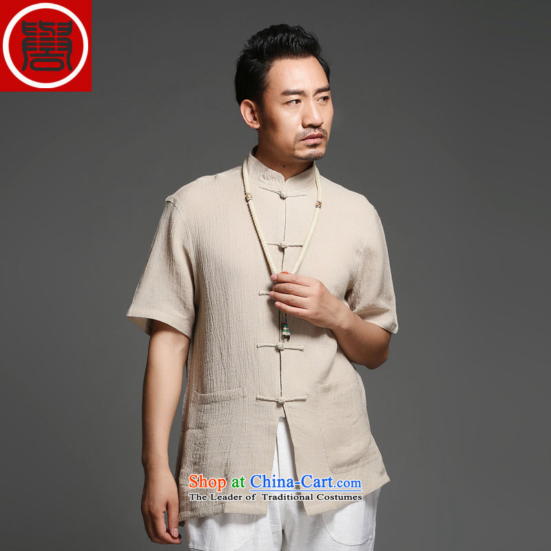 Renowned Tang dynasty male cotton linen short-sleeved older Chinese short-sleeved cloth temperament disc buttoned, national service men in Summer Wine red (170), renowned (CHIYU) , , , shopping on the Internet