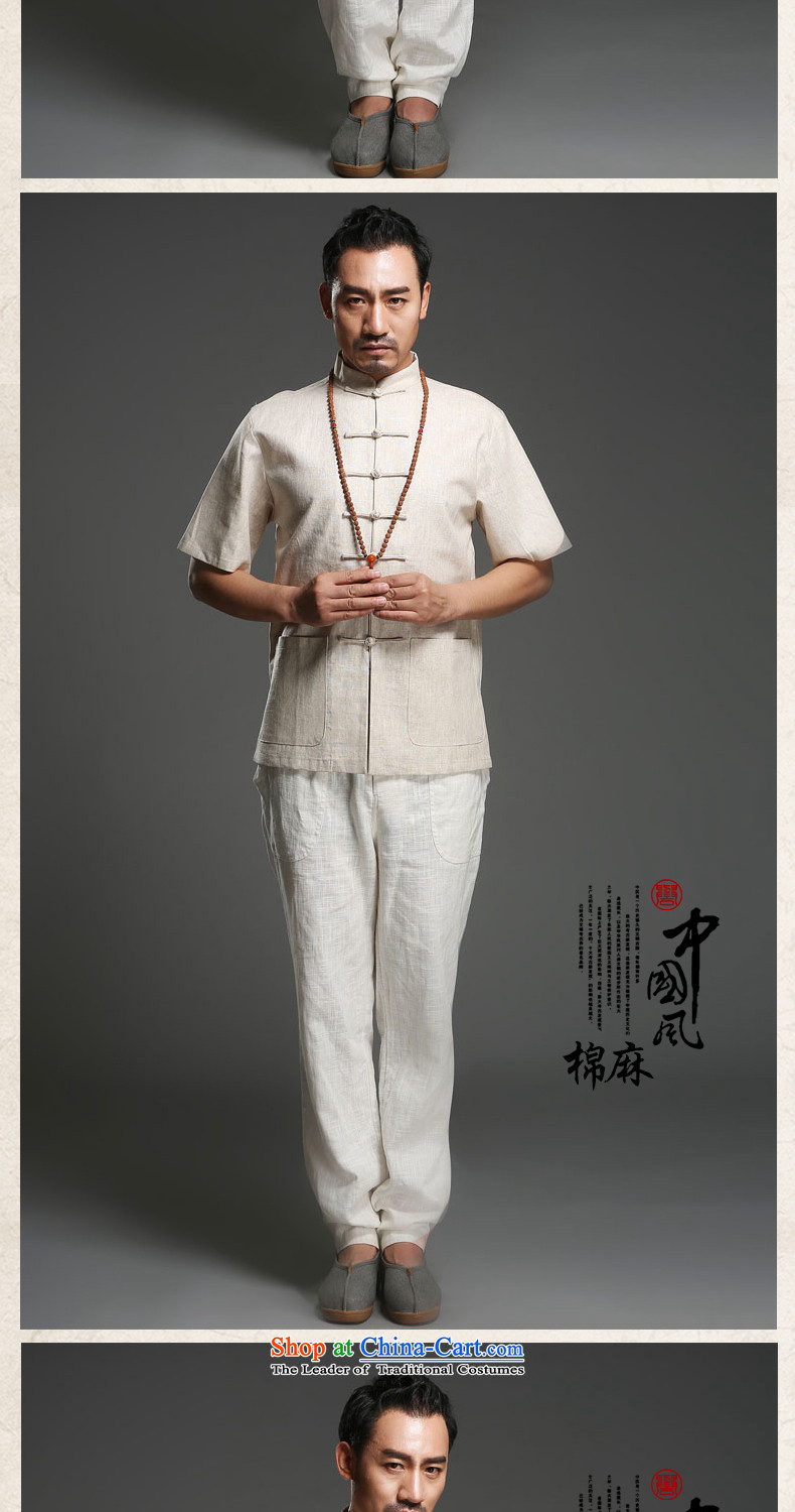 Renowned China wind men cotton linen short-sleeved Tang dynasty improved Tang Dynasty Chinese men of pure colors of ethnic summer blouses light gray large (175)Picture, prices, brand platters! The elections are supplied in the national character of distribution, so action, buy now enjoy more preferential! As soon as possible.