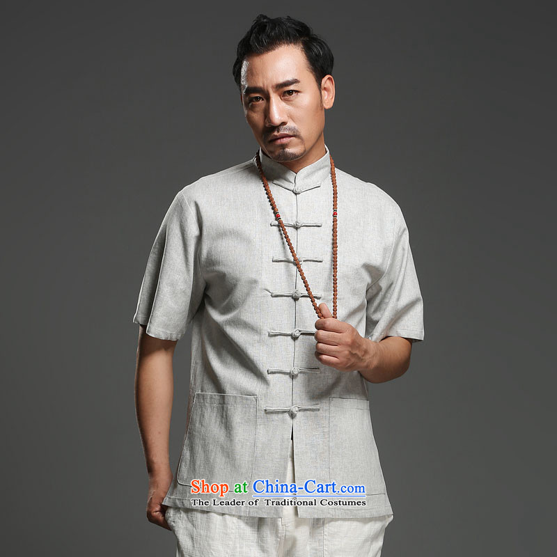 Renowned China wind men cotton linen short-sleeved Tang dynasty improved Tang Dynasty Chinese men of pure colors of ethnic summer blouses light gray large (175)