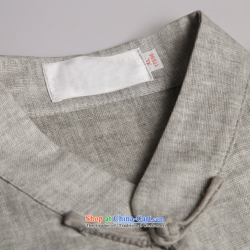 Renowned China wind men cotton linen short-sleeved Tang dynasty improved Tang Dynasty Chinese men of pure colors of ethnic summer blouses light gray large (175), renowned (CHIYU) , , , shopping on the Internet