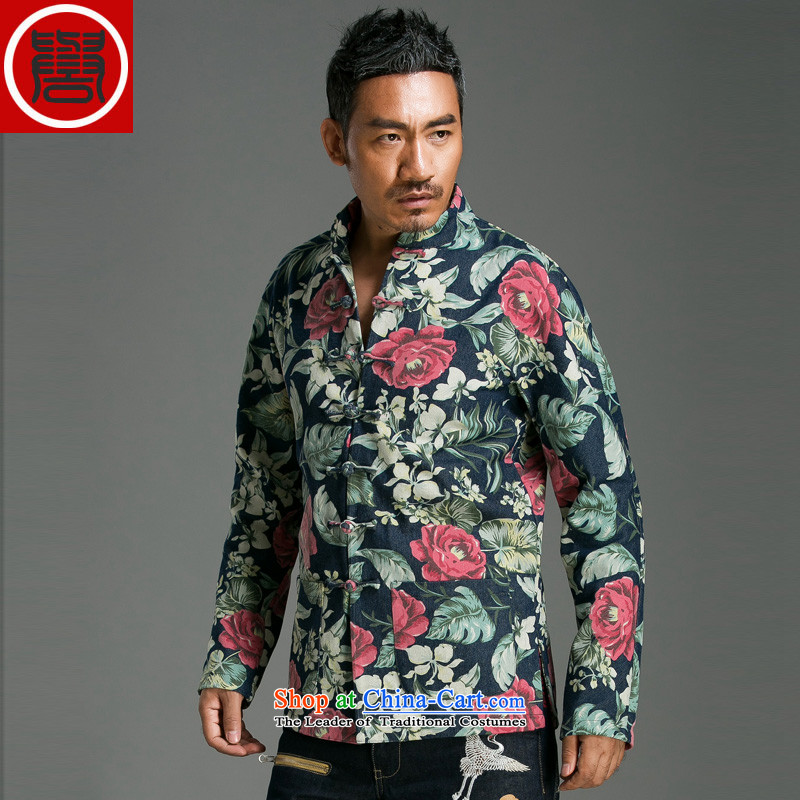 Renowned China wind suit Male clip stylish disc stamp decorated in stylish personality Tang saika jacket suit (Global 2 jumbo)