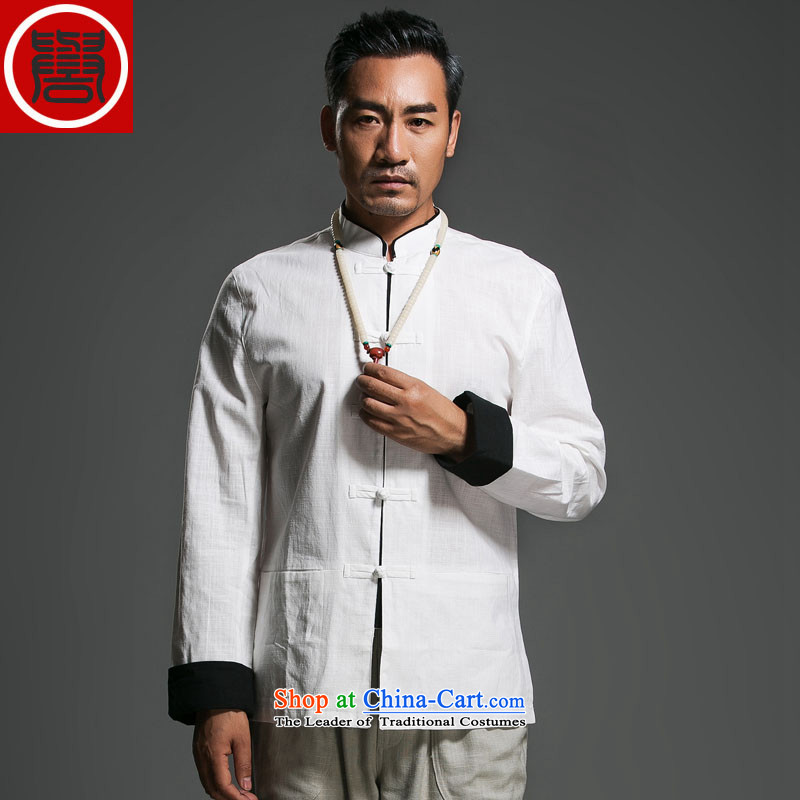 The fall of the renowned linen Solid Color Tang dynasty long-sleeved loose China wind men's jackets and disc buttoned, ethnic white in _170_