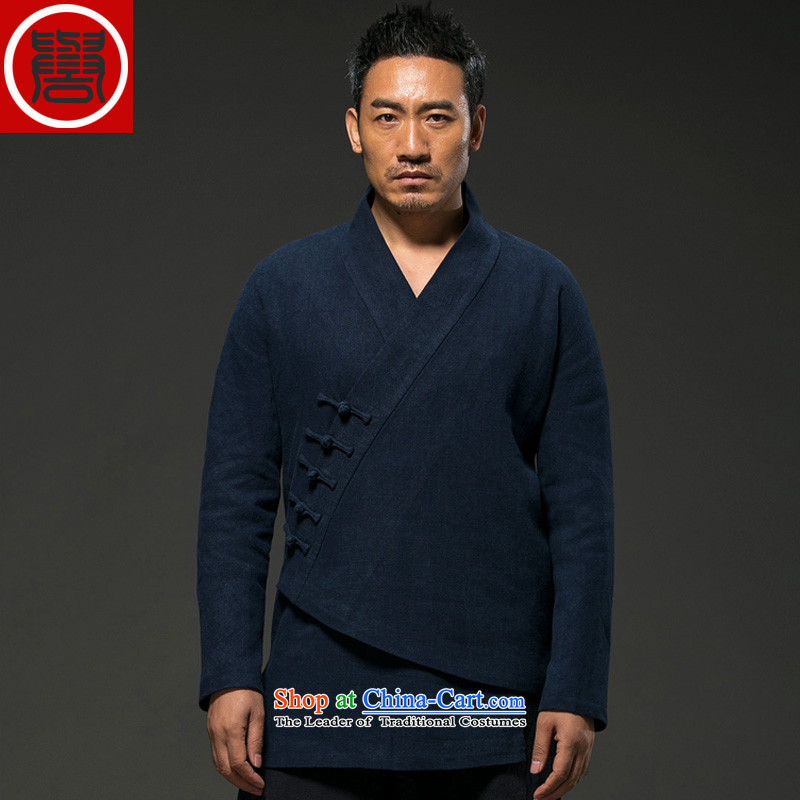 Renowned China wind autumn and winter men cotton linen Tang dynasty long-sleeved improved Han-spiritual services need to come to grips loose ball-T-shirt Chinese Disc detained Blue jumbo XXL