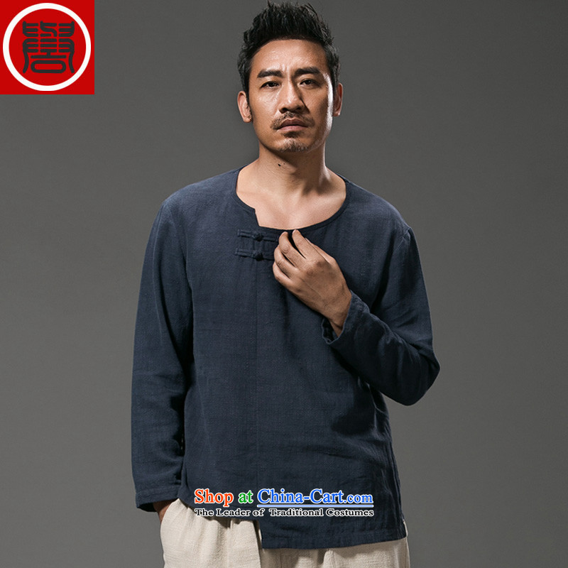 Renowned China wind men's shirts, long-sleeved men Chinese tunic plain manual tray detained men in summer and autumn replace Han-T-shirt improved national costumes Tang dynasty blue?XXXL