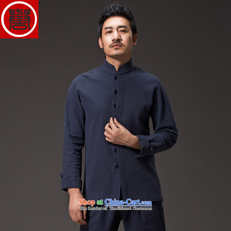 Renowned China wind men cotton linen garments of ethnic Chinese shirt men Sau San disk tie china long sleeved shirt collar improved Tang dynasty blue聽XXL