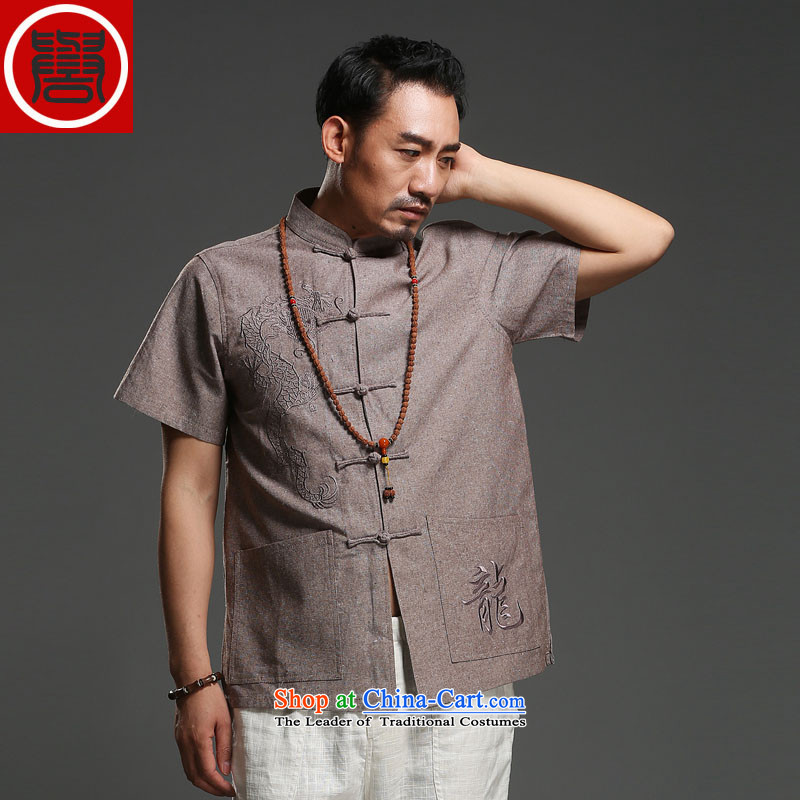 Renowned Tang replacing men short-sleeved cotton linen 2014 new dragon design Tang dynasty summer breathable T-shirt, brown-seok (185)Where the national costumes
