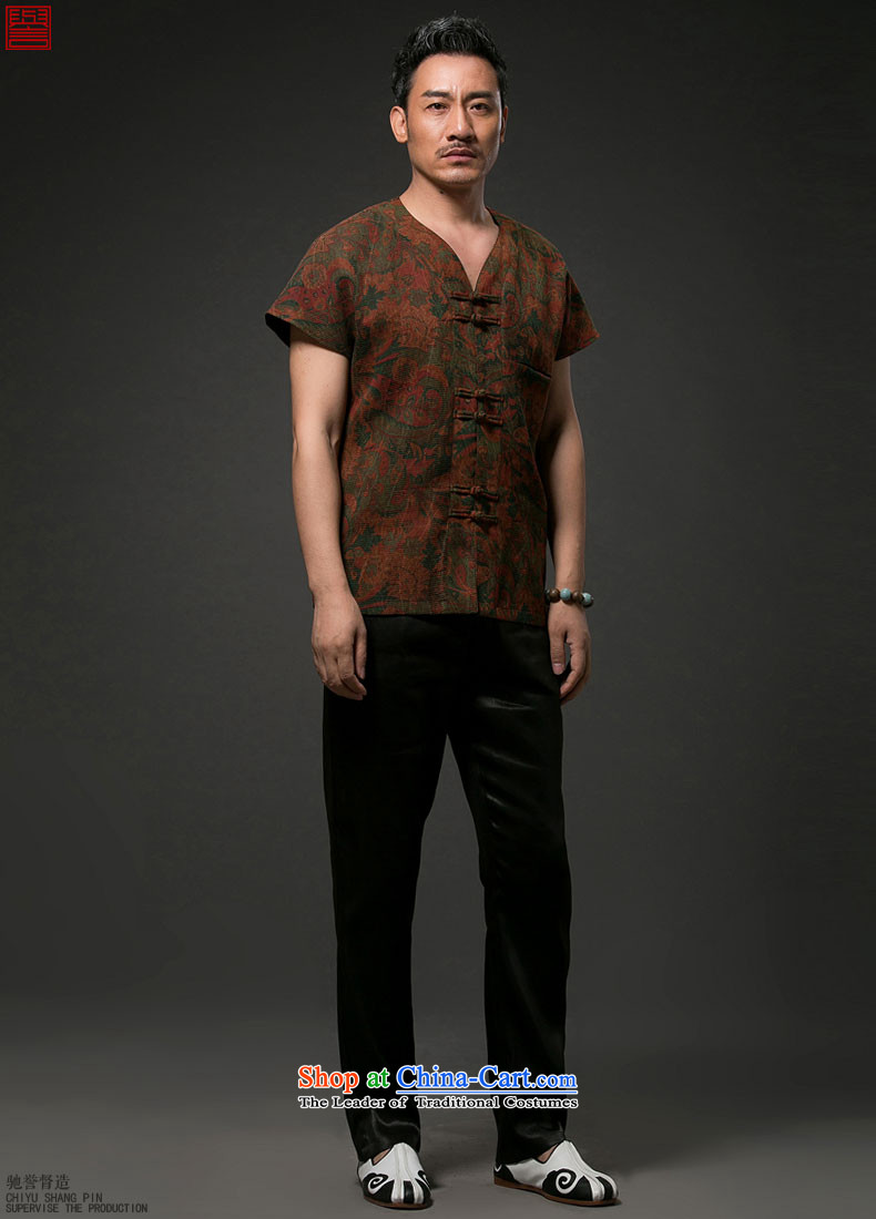 Renowned China wind men short-sleeved shirt Tang Dynasty Chinese silk silk shirts with men's cloud of incense yarn short-sleeved T-shirt wine red聽4XL Photo, prices, brand platters! The elections are supplied in the national character of distribution, so action, buy now enjoy more preferential! As soon as possible.