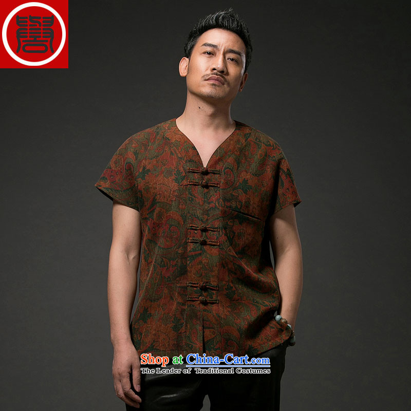 Renowned China wind men short-sleeved shirt Tang Dynasty Chinese silk silk shirts with men's cloud of incense yarn short-sleeved T-shirt wine red�4XL
