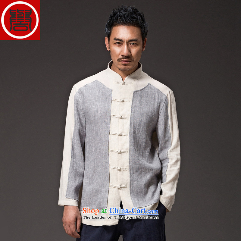 Renowned China wind Cheongsams Men long-sleeved shirt Sau San Chinese linen Men's Shirt clip and the Spring and Autumn period is light gray T-shirt _3XL_ movement