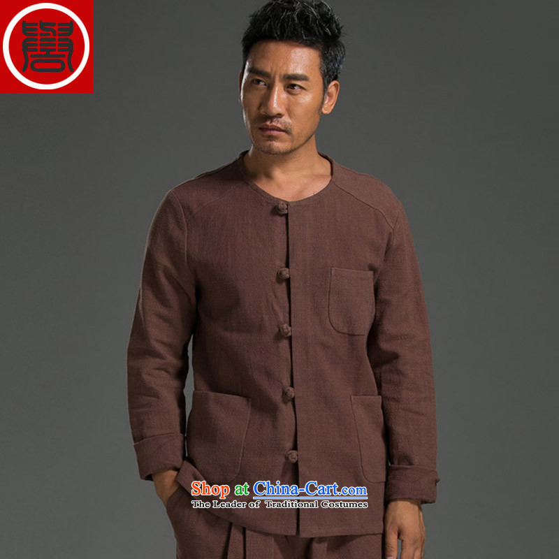 Renowned China wind men's shirts Long-Sleeve Shirt Kung Fu Man Kit Chinese round-neck collar cotton linen Sau San simplicity of ethnic BOURDEAUX燲XXL Kit
