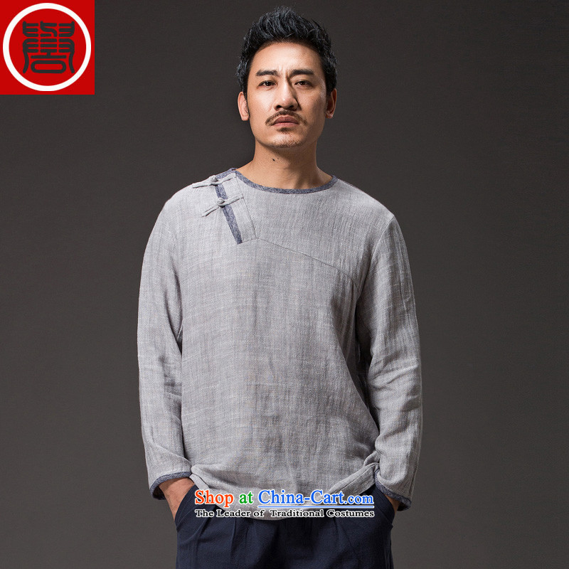 Renowned China wind spring men cotton linen Tang Dynasty Han-ball-improved long-sleeved clothing loose swashplate jumbo _2XL_ buttoned, Light Gray