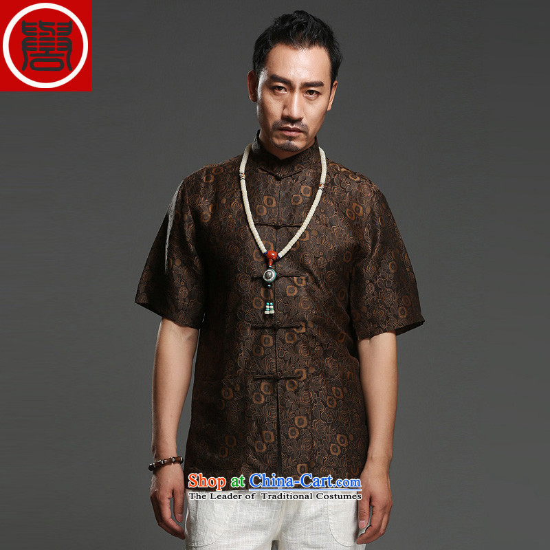Renowned national sentiment for summer 2014 men's shirts?100 herbs extract Short-Sleeve Mock-Neck Shirt Silk Tang dynasty _175_Large brown