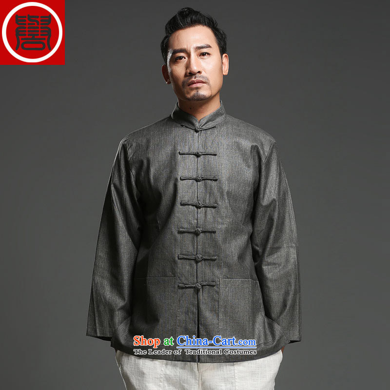 Renowned New China wind load spring and autumn and long-sleeved Chinese Tang dynasty and long-sleeved tray clip Tang dynasty cotton linen coat carbon jumbo (2XL)