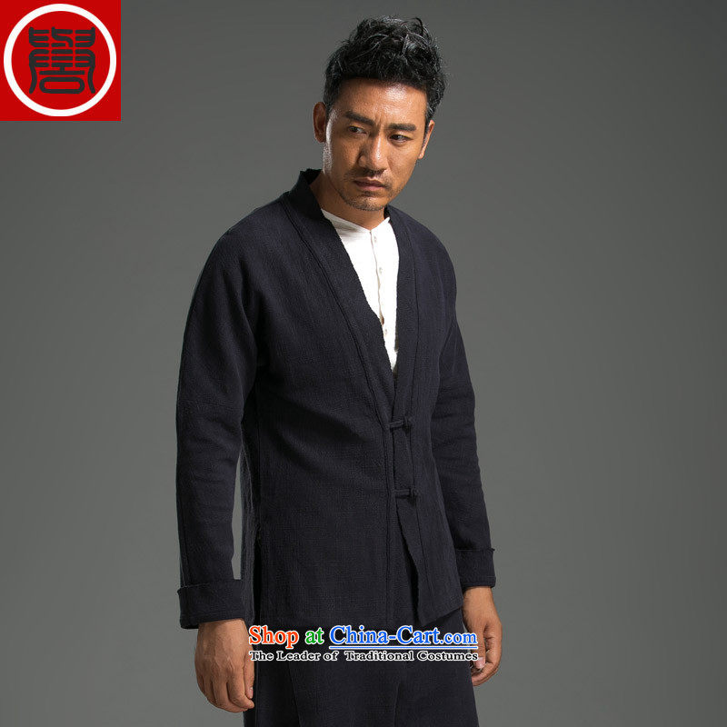 Renowned China wind men fall long-sleeved sweater Tang dynasty male cardigan linen coat leisure national sentiment Chinese tea service Han-T-shirt dark blue?XL