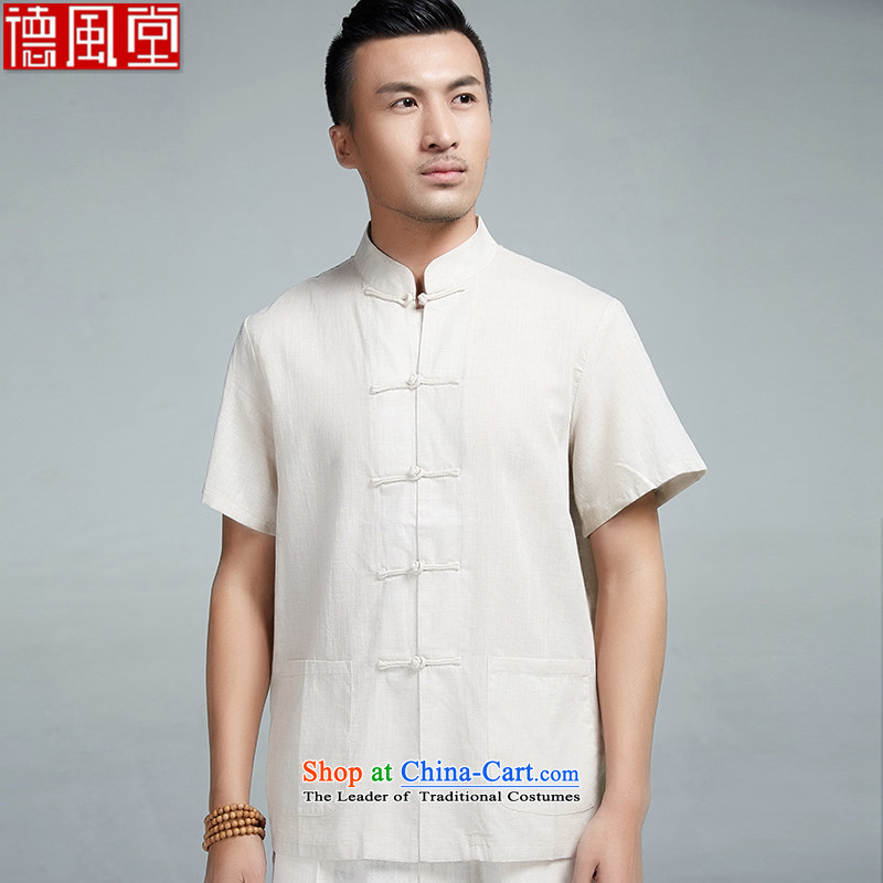 De Fudo cicada wing summer new cotton linen short-sleeved manually drive Tang dynasty men detained young people , Chinese clothing shirt, beige XXL_175