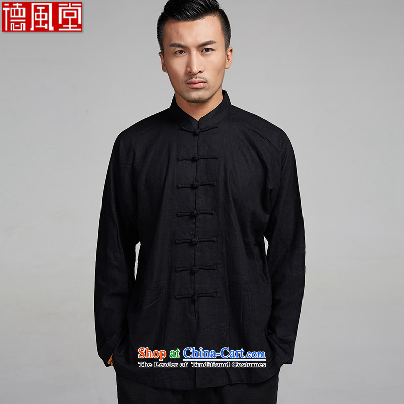 De Fudo Xuanwu� 100_ linen long-sleeved Chinese 4.5-60s Ma Lin Shoulder 7 tie summer Tang China Wind Jacket men Chinese clothing�_L black