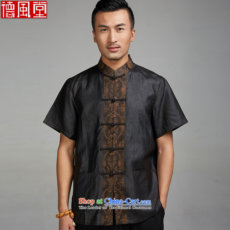 Fudo fuser days de�2015 Summer new cloud of incense of Tang Dynasty men short-sleeved ethnic men silk disc detained Chinese clothing black�4XL