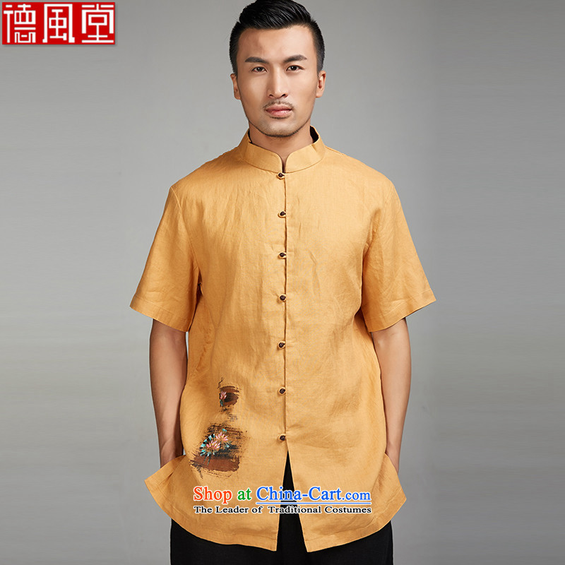 I should be grateful if you would have Fudo Ching Tak new summer 2015, flax and Tang dynasty short-sleeved ethnic 100_ snap loose knots in the linen Version Chinese clothing yellow L