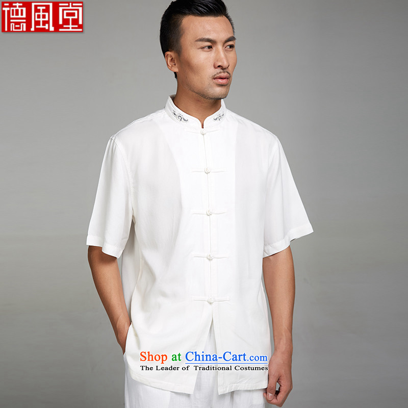 Fudo De Lin white 2015 new 100_ TENCEL summer men Tang dynasty short-sleeved ethnic upscale embroidery Chinese clothing XXXL White