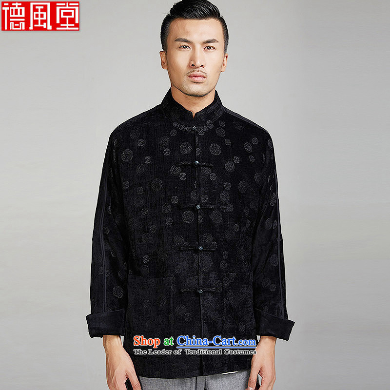 Fudo De Yu Fu� 2015 Autumn Chinese Wind Men's Jackets middle-aged men Tang dynasty personality embroidery disc detained leisure even black circle�XXXL shoulder Jacket