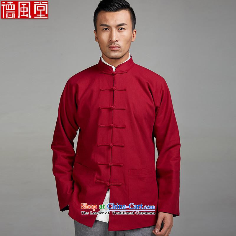 Fudo Zen Day de�2015 New Tang dynasty traditional style linen reversible shoulder even long-sleeved thick durable Dark Blue + rocketed to Chinese clothing�XXXL