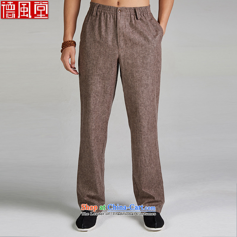 De Fudo Atsuyuki聽2015 new spring and fall cotton linen Tang dynasty men casual pants elastic waist men's trousers, Straight Legged pants breathable Chinese clothing card its聽XXXL
