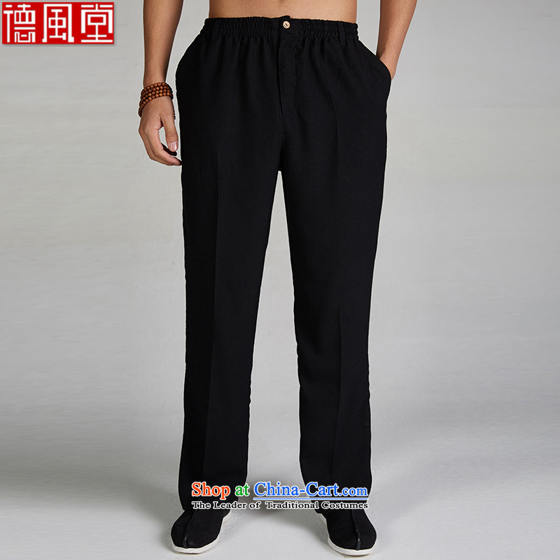 Fudo de�15 Chinese men in the wind cotton linen trousers jogging summer leisure stay trousers elasticated trousers China wind Chinese clothing black燲XL
