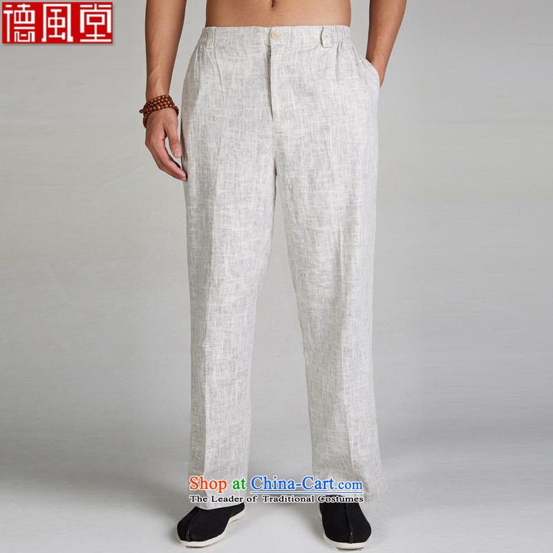 De Fudo winds聽2015 new linen summer Chinese casual pants elastic waist relaxd Tang Dynasty Chinese garment-Light Gray聽XL