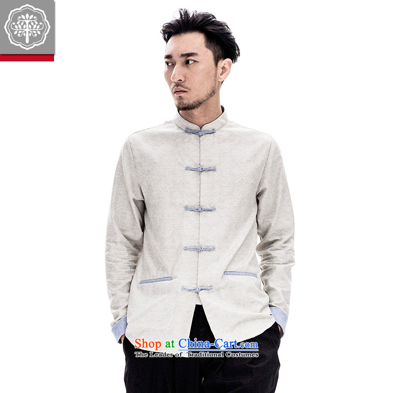 To replace the long-sleeved Tang tree cotton linen coat Chinese men loose male Han-improved spring China wind Ma Tei 175_L Gray