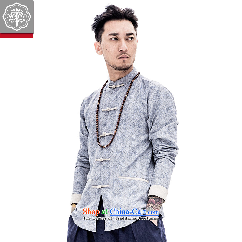 To replace the long-sleeved Tang tree cotton linen coat Chinese men loose male Han-improved spring China wind ma gray聽175/L, EYENSREE Tree (Context) , , , shopping on the Internet