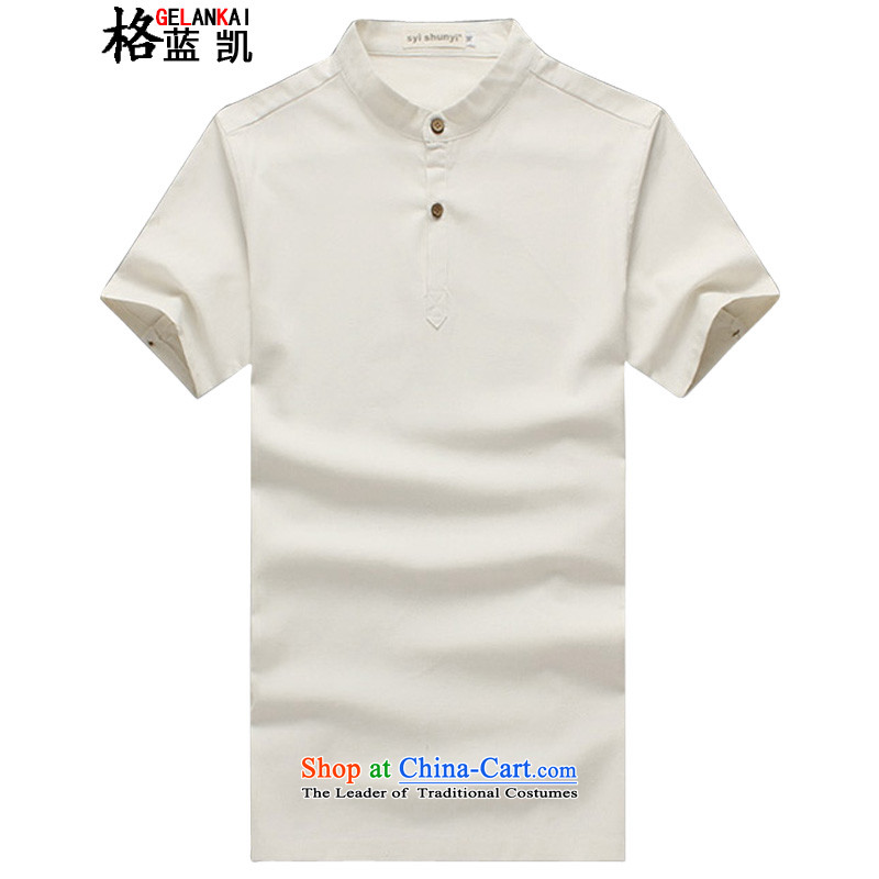 The blue Kai (15) Mr Ronald, GELANKAI larger men linen Tang Dynasty Chinese tunic short-sleeved shirt collar leisure shirts Male Male�S11�White�XXL