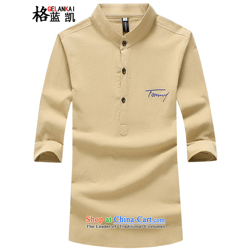 The blue Kai (GELANKAI) Mr Ronald, large numbers of men linen Tang Dynasty Chinese tunic 7 sleeveless shirt that Men's Mock-Neck Shirt leisure male?1109?khaki?5XL