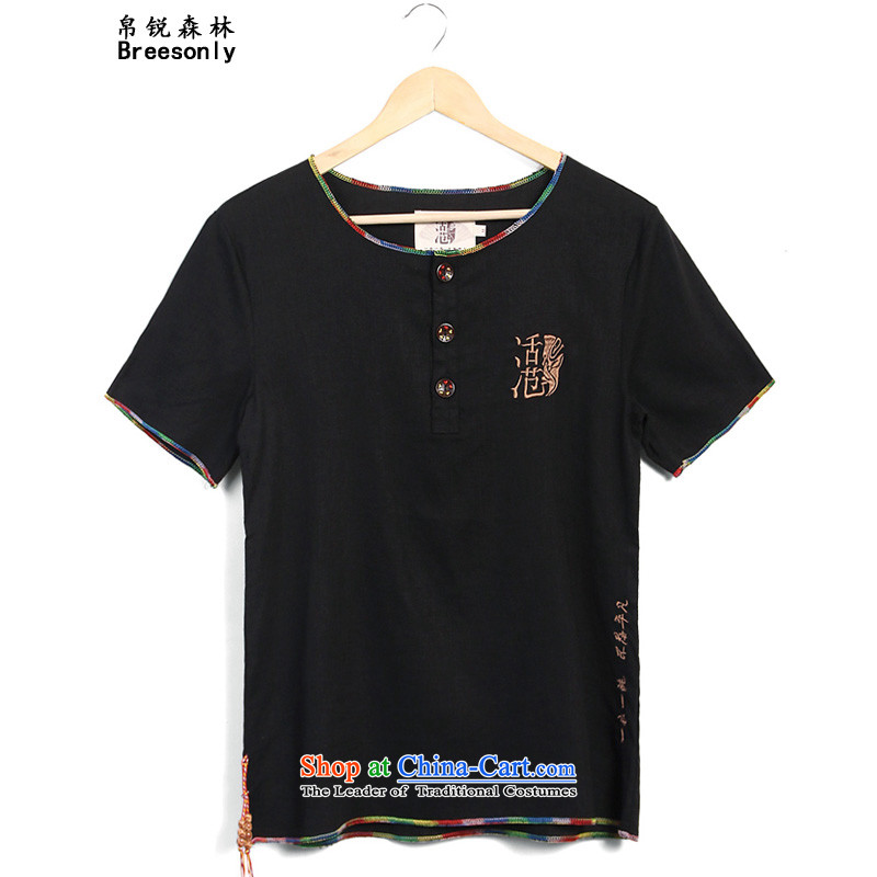 8Vpro Forest _breesonly_ larger men Tang Dynasty Chinese tunic summer short-sleeved shirt, linen tunic male DC8836 casual male black 5XL