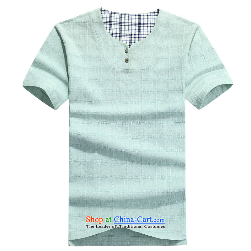 Summer cotton linen men cotton linen kit and short-sleeved Tang dynasty China wind men short-sleeved T-shirt and a Chinese set linen short-sleeved T-shirt with round collar cotton linen short-sleeved T-shirt more colors to duck green�M/170