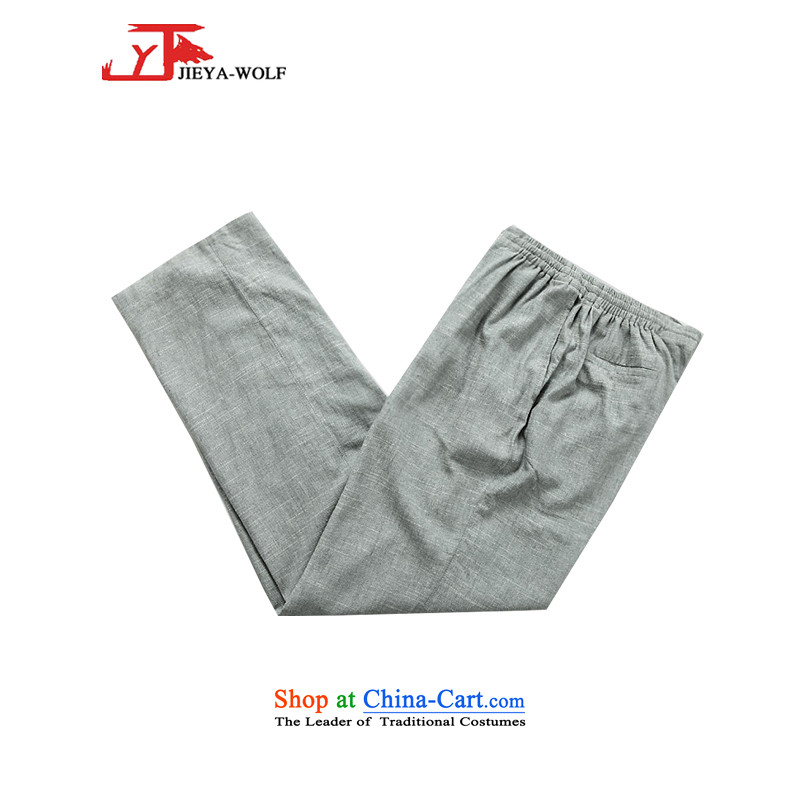 - Wolf JIEYA-WOLF, New Tang dynasty men's short-sleeved spring, summer, autumn and recreational sport trousers pockets of four flax Tai Chi Man 4 light gray pants pocket?170_M