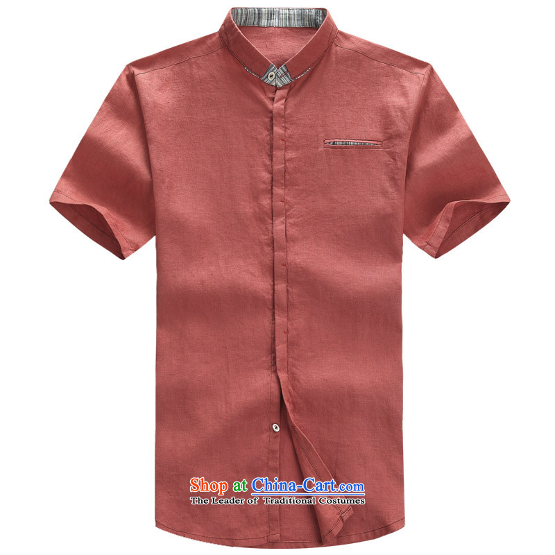 2015 New Tang dynasty short-sleeved men cotton linen clothes China wind Chinese male cotton linen mock shirt ethnic men coin cotton linen Tang dynasty short-sleeved XL_180 rusty red