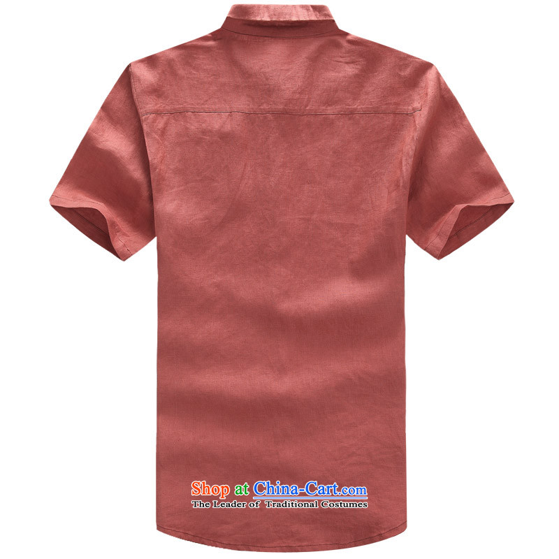 2015 New Tang dynasty short-sleeved men cotton linen clothes China wind Chinese male cotton linen mock shirt ethnic men coin cotton linen Tang dynasty short-sleeved聽XL/180, rusty red and line (gesaxing thre) , , , shopping on the Internet
