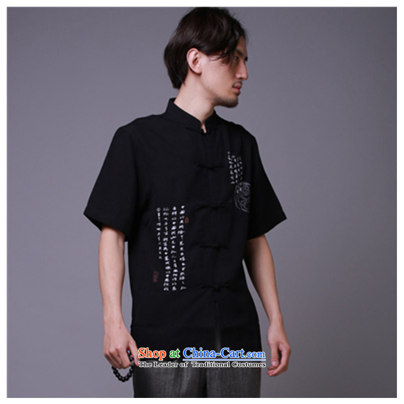 Tang dynasty male short-sleeved linen men summer national costumes cotton linen china wind men short-sleeved shirt Han-black?XXXL/ recommendations 190 percent weight