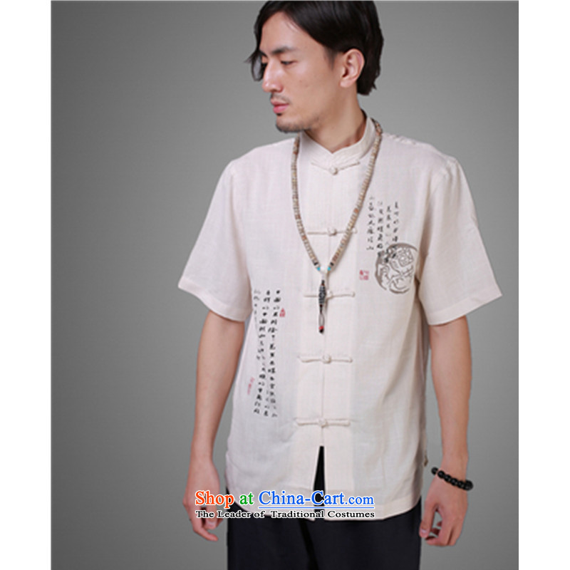 Tang dynasty male short-sleeved linen men summer national costumes cotton linen china wind men short-sleeved shirt Han-black聽XXXL/ recommendations 190 percent weight ,adfenna,,, shopping on the Internet