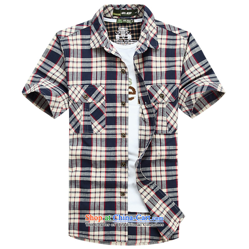 Jeep Shield Tang dynasty short-sleeved shirt grid male lapel pure cotton larger business casual shirts half youth sleeveless shirt that commerce6826 Blue XL