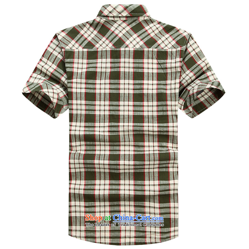Jeep Shield Tang dynasty short-sleeved shirt grid male lapel pure cotton larger business casual shirts half youth sleeveless shirt that commerce6826 Blue XL, Jeep Guilders (NIAN JEEP) , , , shopping on the Internet