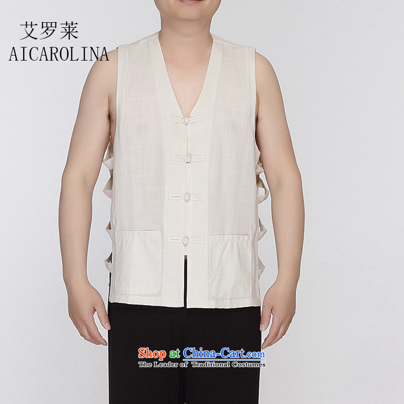 Hiv Rollet New In Summer 2015 men's T-shirts vest in Tang Dynasty, a without collars shoulder shirt features Chinese shirt, beige M