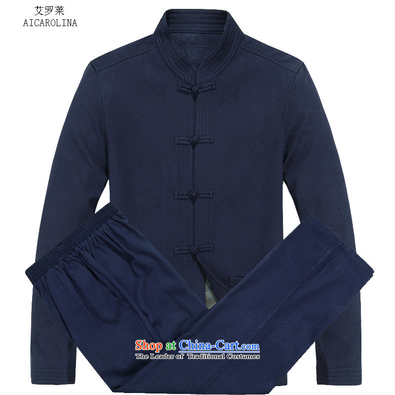 Hiv Rollet autumn and winter in the new age of Tang Dynasty long-sleeved shirt with older persons older father blouses blue XXXL Kit
